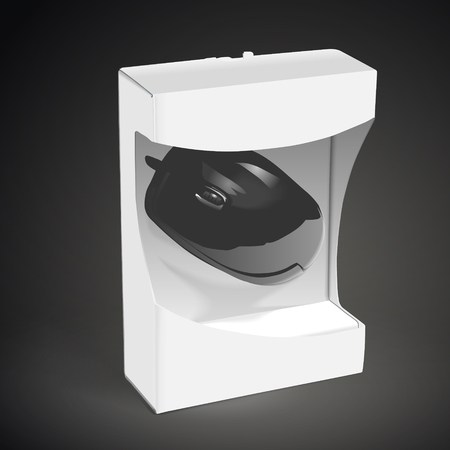 scroller: black mouse wrapped in the box isolated on black background. 3D illustration. Illustration