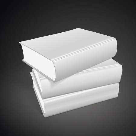stack of blank books on black background. 3D illustration.