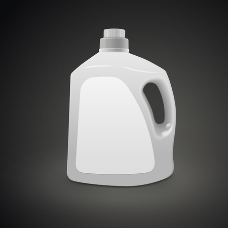 plastic detergent container isolated on black background. 3D illustration.