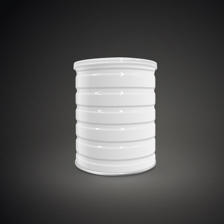 blank metal can isolated on black background. 3D illustration.