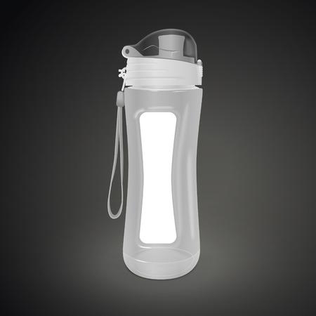Bouteille d'eau réutilisable isolé sur fond noir. illustration 3D. Banque d'images - 56863539