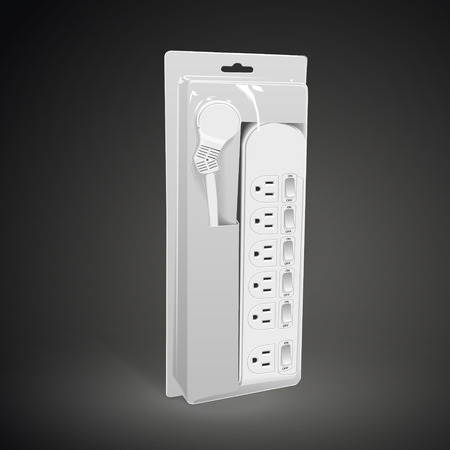 way bill: multi-socket adapter with package isolated on black background. 3D illustration.