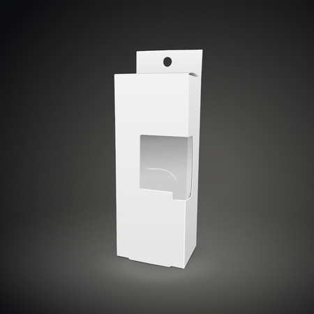 plastic window: cardboard box with a transparent plastic window isolated on black background. 3D illustration.