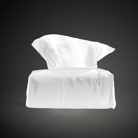 soft tissues: pack of open tissue paper isolated on black background. 3D illustration. Illustration