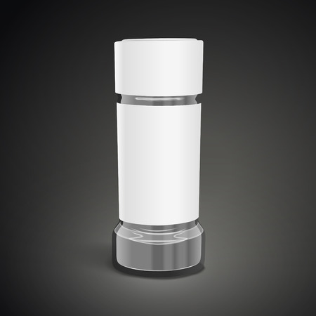 shakers: blank glass salt and pepper shakers on black background. 3D illustration.