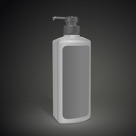 bodycare: shampoo bottle with blank label isolated on black background. 3D illustration.