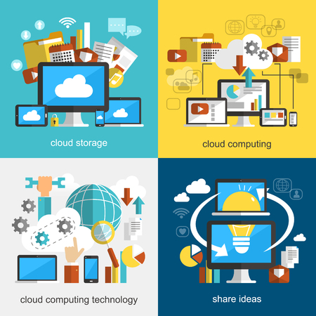 information design: cloud technology flat design collections with multi devices