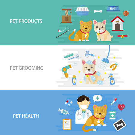 grooming: pet care flat design illustration - pet products. grooming and healthcare banner Illustration
