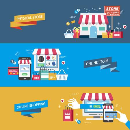 shopping illustration design plat - magasin physique. boutique en ligne et achats en ligne