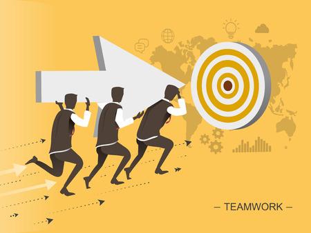 jointly: teamwork flat design illustration - men moving toward the target