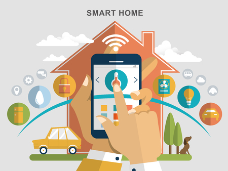 smart home flat design illustration - home appliances remotely control by smartphone