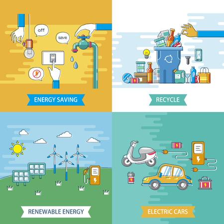 ecologie platte ontwerp illustratie - energiebesparing. recyclen. elektrische auto's en duurzame energie