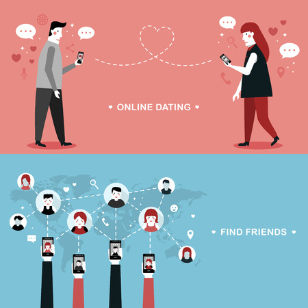 online dating flat design illustration - find new friends through devices