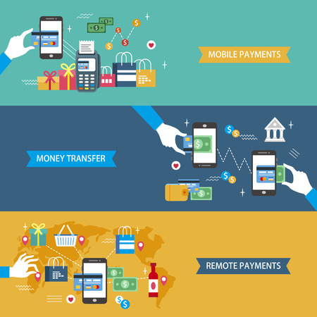 payments concept flat design illustration - mobile payments. money transfer. remote payments Vectores