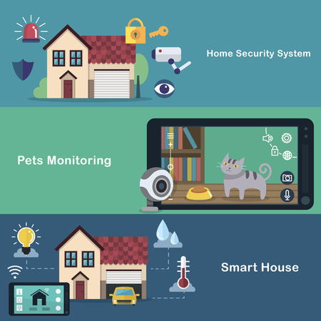 monitoring system: smart home flat design - security system. pets monitoring. smart appliances. Illustration