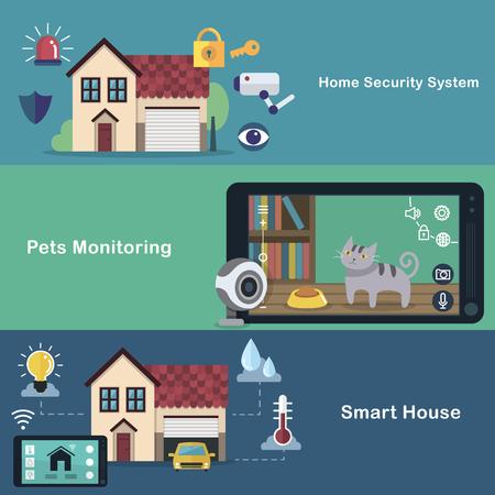 smart home flat design - security system. pets monitoring. smart appliances. Illustration