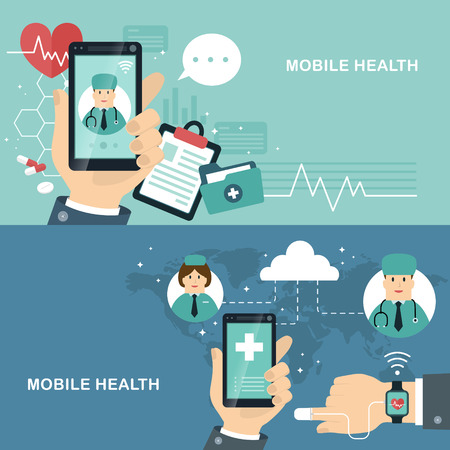 mobile health flat design illustration - track your health condition through devices Illustration