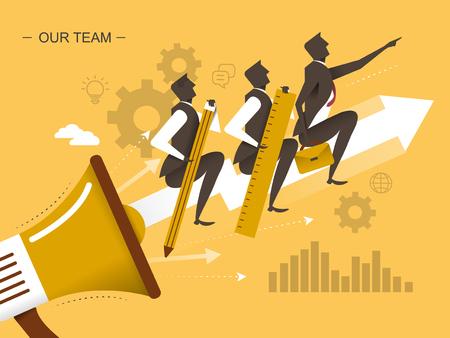 jointly: teamwork flat design illustration - men moving upward to success