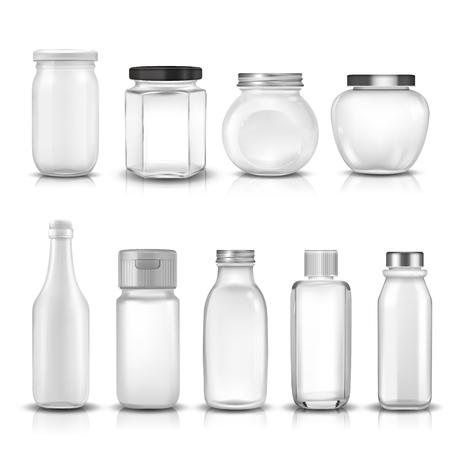 glass jars: Nine glass jars collection set. 3D illustration. Illustration
