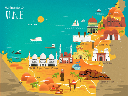 gold souk: UAE travel concept map with attractions and specialties