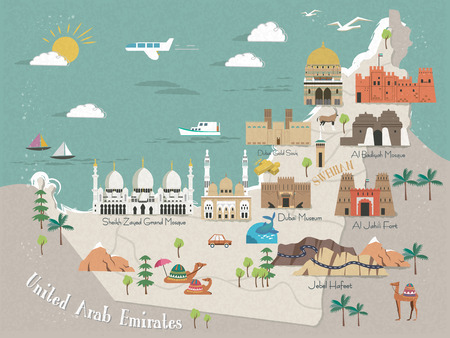 UAE travel concept map with attractions and specialties