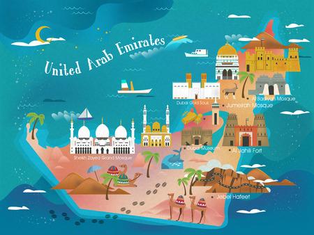 UAE Reise-Konzept Karte mit Sehenswürdigkeiten und Spezialitäten