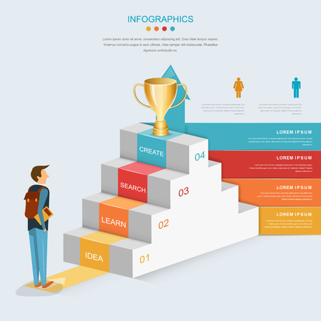 Infographic Ideas infographic template education : Education Infographic Template Design With Stairs And Growing ...