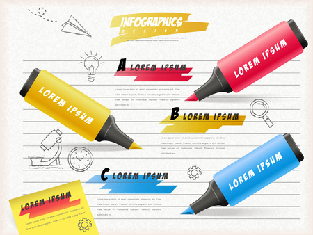 notepaper: Education infographic template design with highlighters draw on notepaper