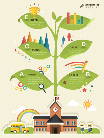 knowledge tree: School knowledge tree - education infographic template design Illustration