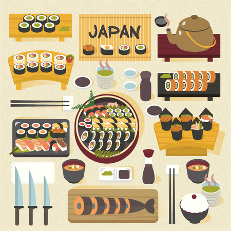 dining table: yummy Japanese sushi set on the dining table