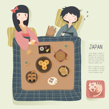 daily life: adorable Japan daily life in winter - to stay warm in the kotatsu