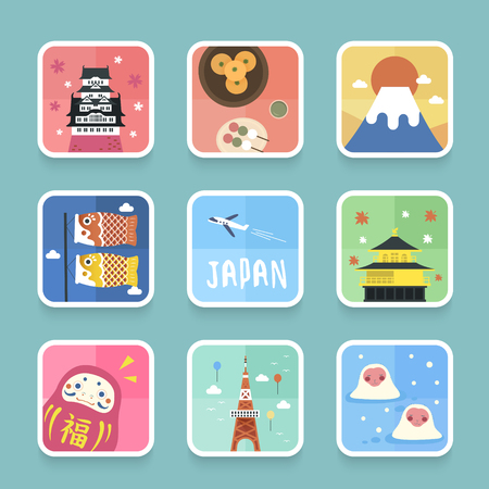 an island tradition: adorable Japan cultural symbol collection in flat design