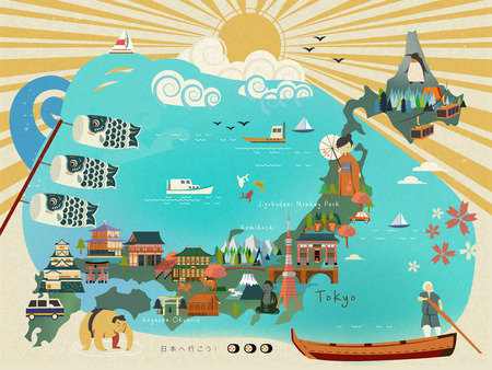 an island tradition: Japan travel map design with attractions and cultural symbol Illustration