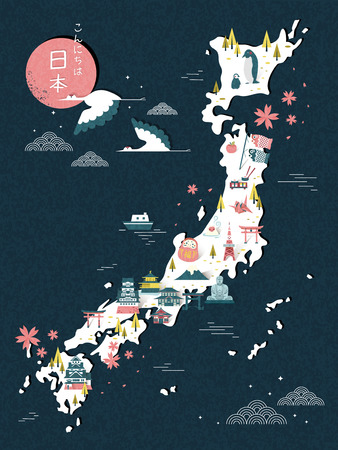 an island tradition: elegant Japan travel map design - Hello Japan in Japanese on top left Illustration