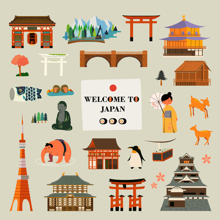 attractions: Japan culture and attractions symbol design collection Illustration