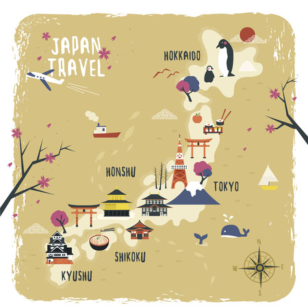 attractions: cute Japan travel map design with attractions
