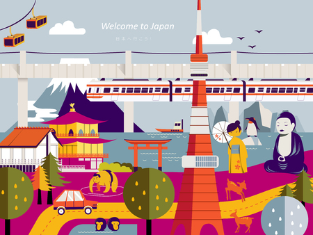 speciality: modern Japan travel poster design with landmarks - Lets go to Japan in Japanese Illustration
