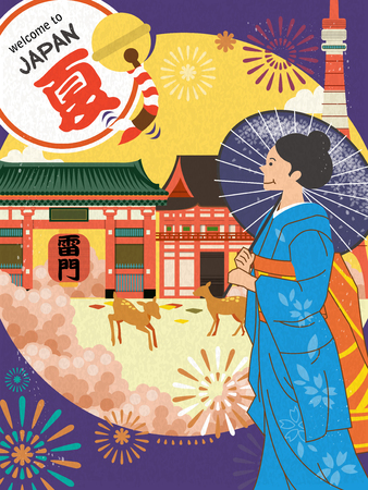red lantern: Japan tourism poster design with geisha - Summer in Japanese on top left  Thunder Gate words on red lantern