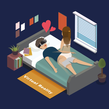 woman lying down: 3d isometric flat design - Virtual reality for adult entertainment Illustration