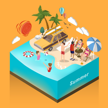 3d isometric flat design - summer aquatic activity concept
