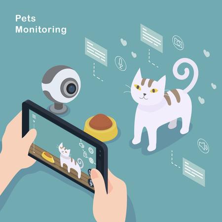 measures: 3d isometric flat design - Pets monitoring concept