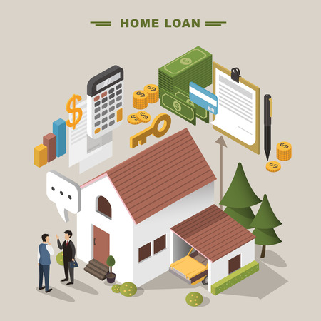 loan: 3d isometric flat design - Home loan concept Illustration