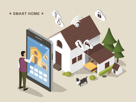 3d isometric flat design - Smart home conceptIOT