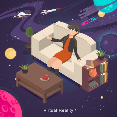 3d diseño plano isométrico - experiencia de realidad virtual del universo Ilustración de vector