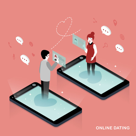 dating: 3d isometric flat design - Online dating concept