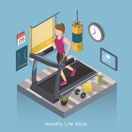 life style: 3d isometric flat design - Healthy life style