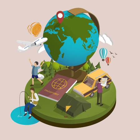 travelers: 3d isometric flat design - outdoor activity and travel concept