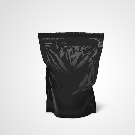 pouch: foil food packaging isolated on white background. 3D illustration.