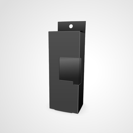 plastic window: cardboard box with a transparent plastic window isolated on white background. 3D illustration.
