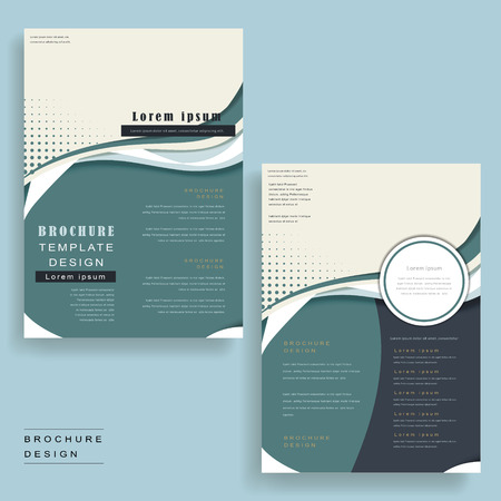 intro: brochure template with streamline design in blue and white Illustration